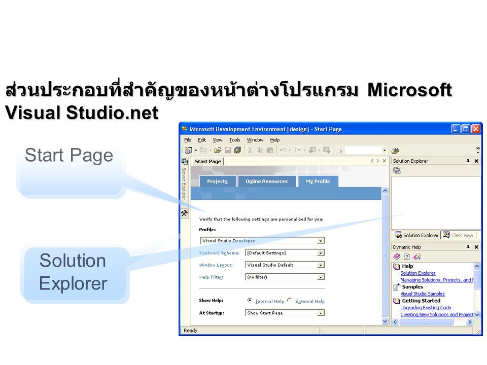 ส่วนประกอบที่สำคัญของหน้าต่างโปรแกรม Microsoft Visual Studio.net