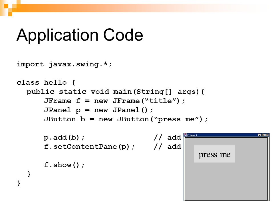 Application Code press me import javax.swing.*; class hello {