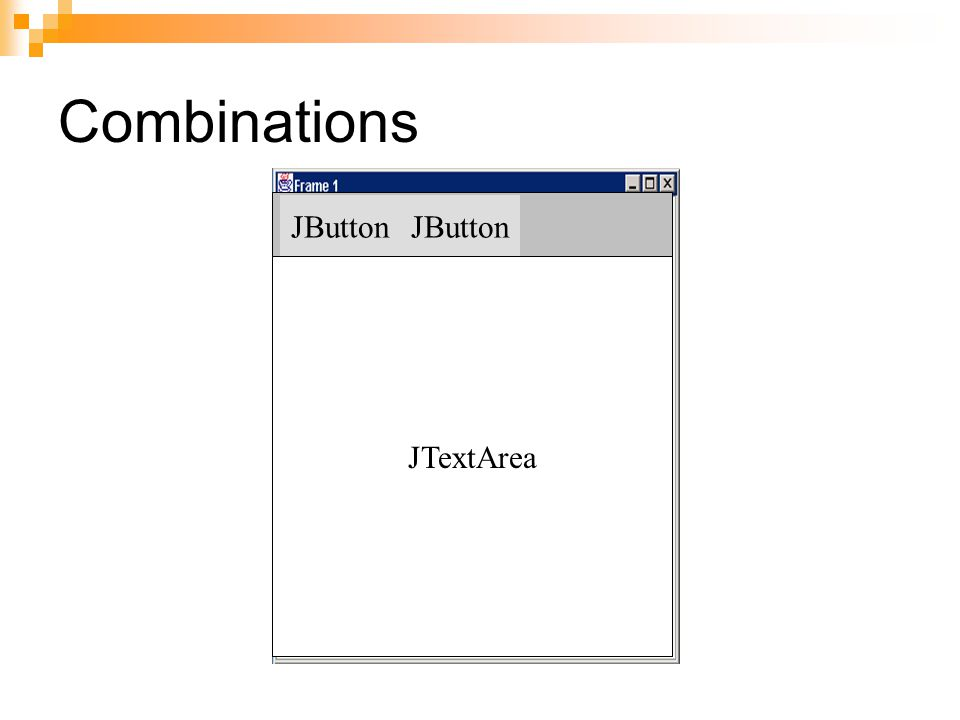 Combinations JButton JButton JTextArea