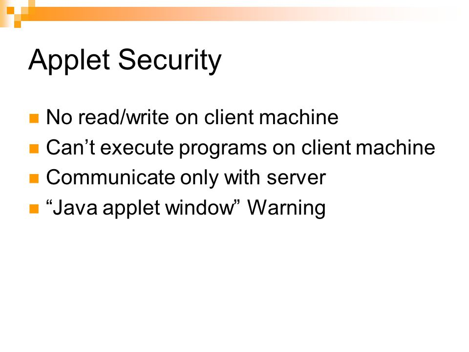 Applet Security No read/write on client machine