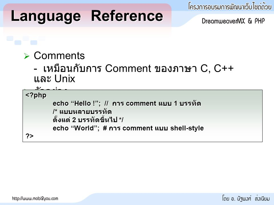 Language Reference Comments