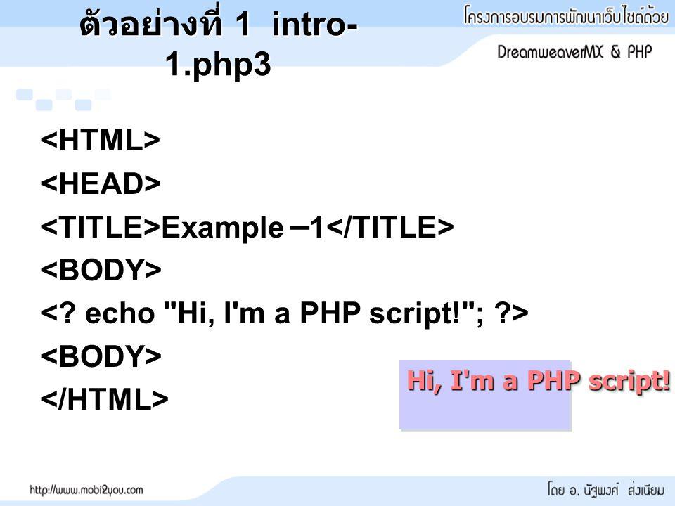 ตัวอย่างที่ 1 intro-1.php3