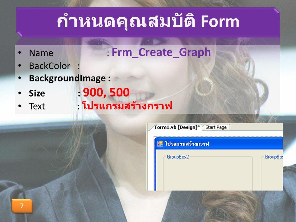 กำหนดคุณสมบัติ Form Name : Frm_Create_Graph BackColor :