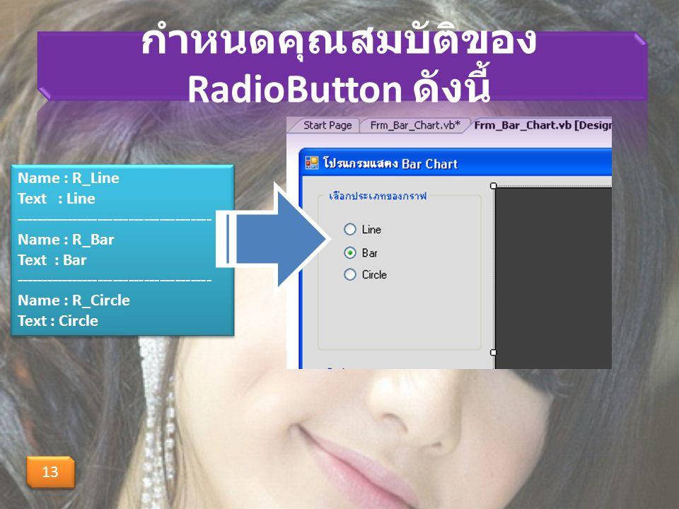 กำหนดคุณสมบัติของ RadioButton ดังนี้