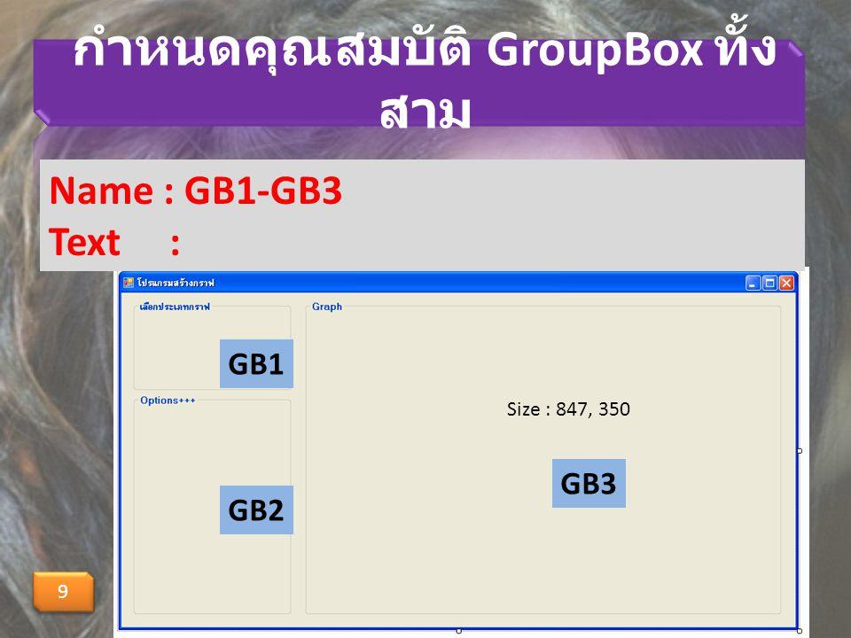 กำหนดคุณสมบัติ GroupBox ทั้งสาม