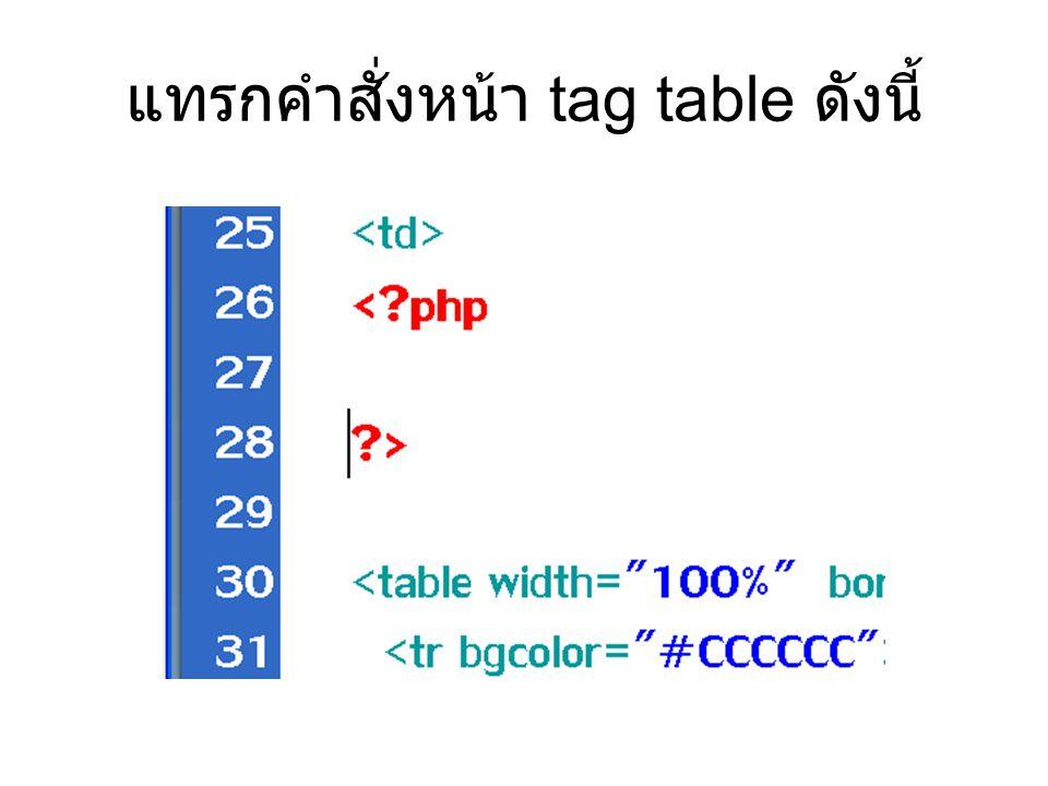 แทรกคำสั่งหน้า tag table ดังนี้