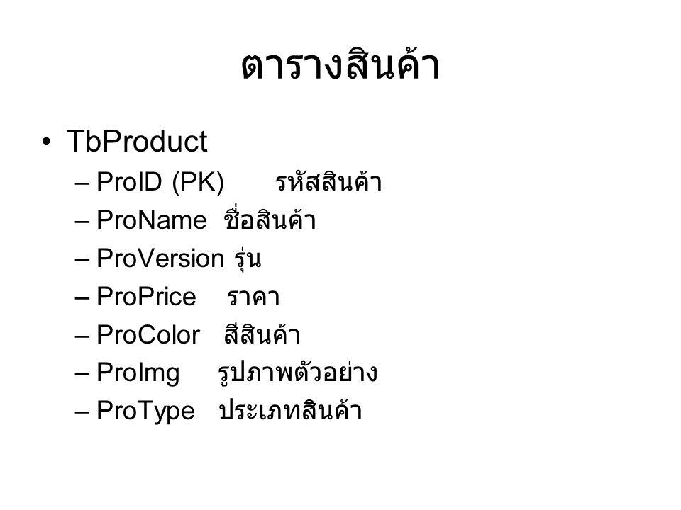 ตารางสินค้า TbProduct ProID (PK) รหัสสินค้า ProName ชื่อสินค้า