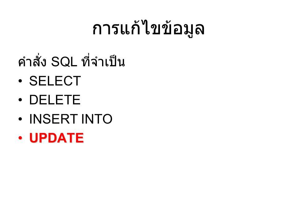 การแก้ไขข้อมูล คำสั่ง SQL ที่จำเป็น SELECT DELETE INSERT INTO UPDATE
