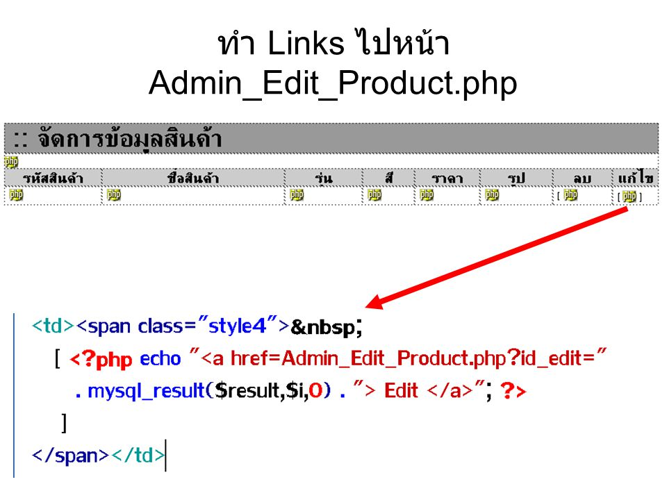 ทำ Links ไปหน้า Admin_Edit_Product.php