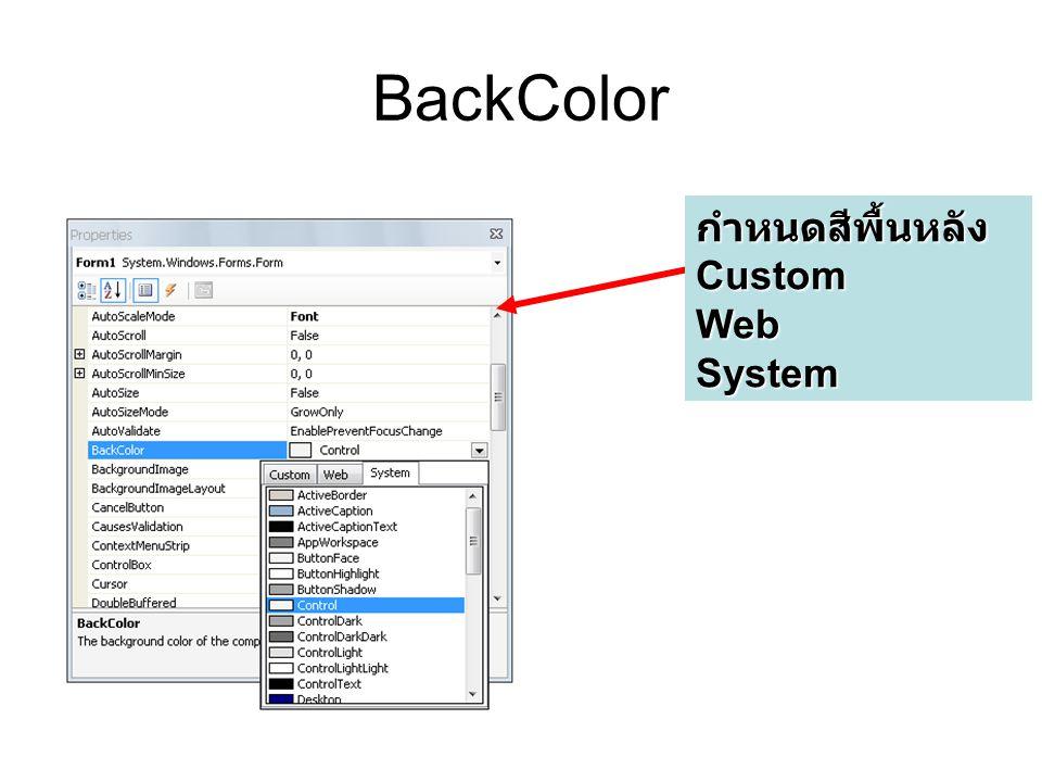 BackColor กำหนดสีพื้นหลัง Custom Web System