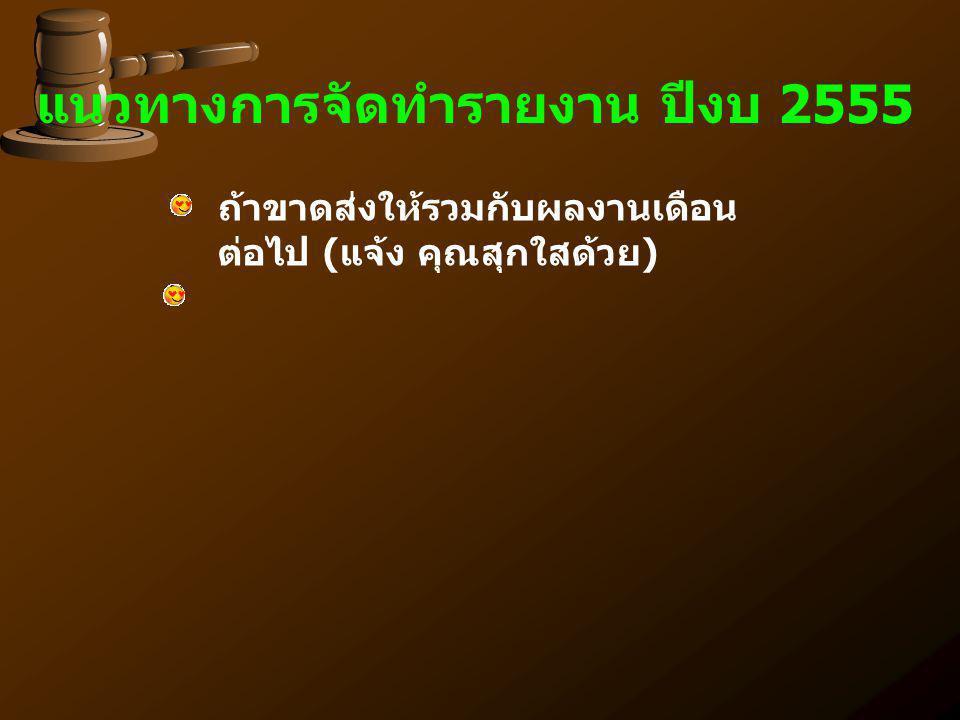 แนวทางการจัดทำรายงาน ปีงบ 2555