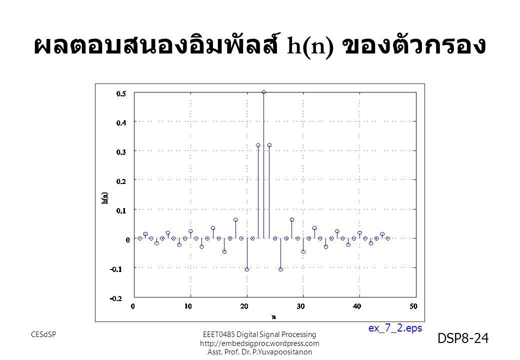 ผลตอบสนองอิมพัลส์ h(n) ของตัวกรอง