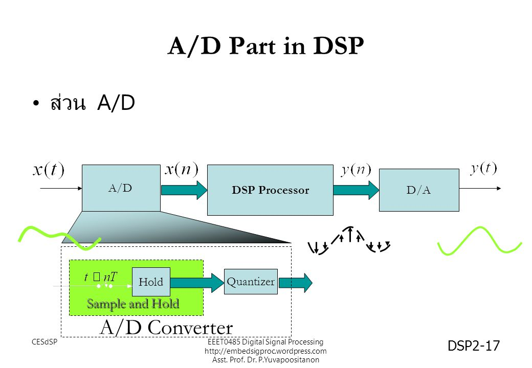 A/D Part in DSP ส่วน A/D A/D Converter Sample and Hold A/D