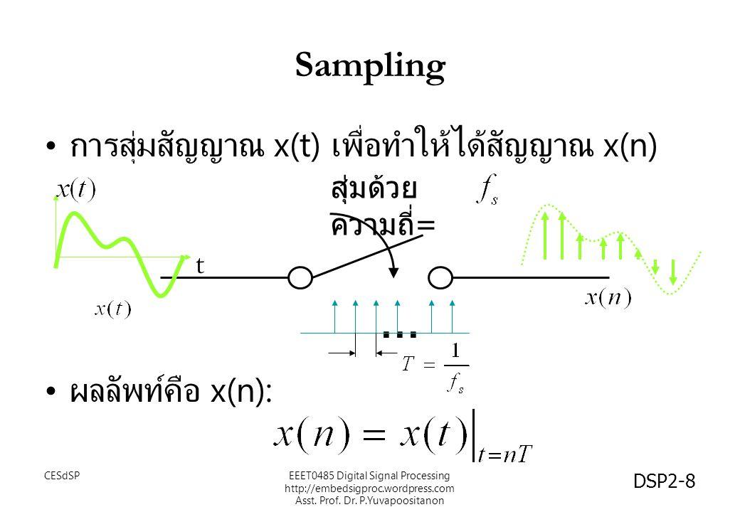 ... Sampling การสุ่มสัญญาณ x(t) เพื่อทำให้ได้สัญญาณ x(n)