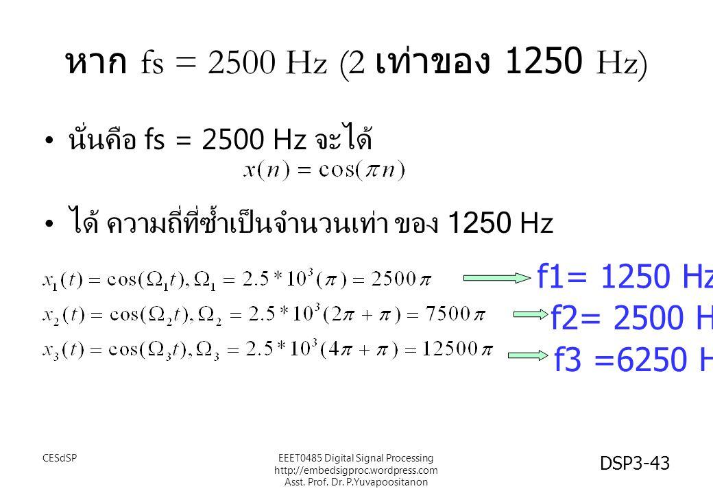 หาก fs = 2500 Hz (2 เท่าของ 1250 Hz) f1= 1250 Hz f2= 2500 Hz