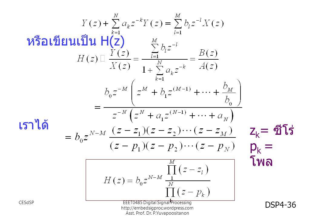 หรือเขียนเป็น H(z) เราได้ zk= ซีโร่ pk =โพล CESdSP