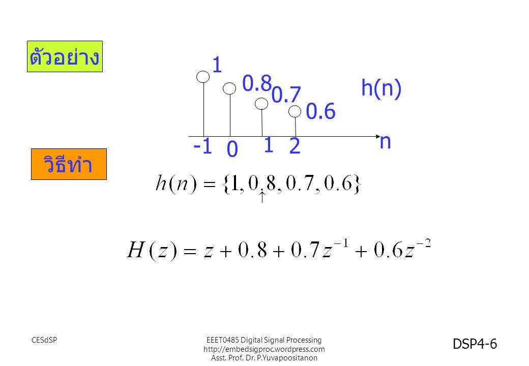 ตัวอย่าง 1 0.8 h(n) 0.7 0.6 n -1 1 2 วิธีทำ CESdSP