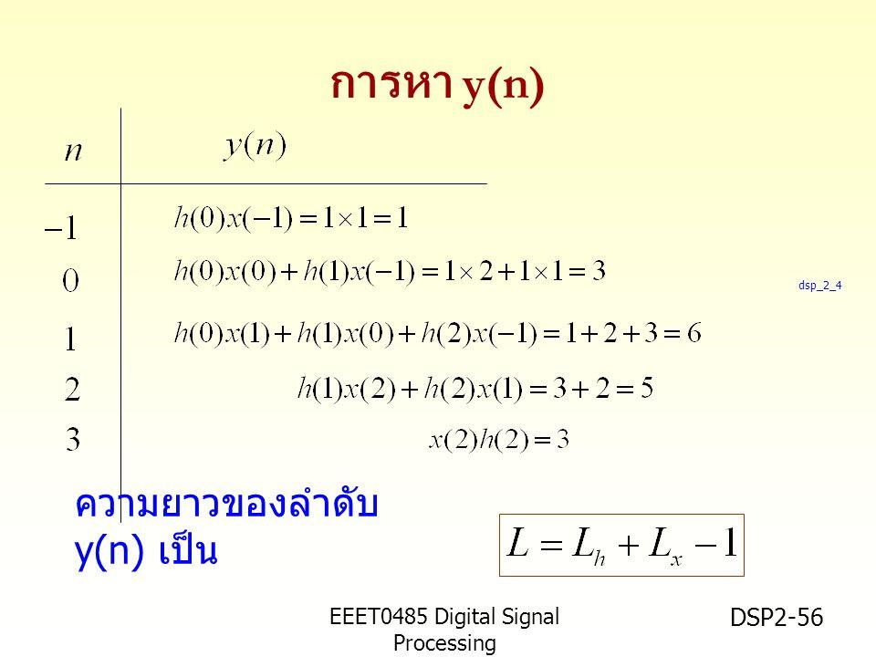 การหา y(n) ความยาวของลำดับ y(n) เป็น