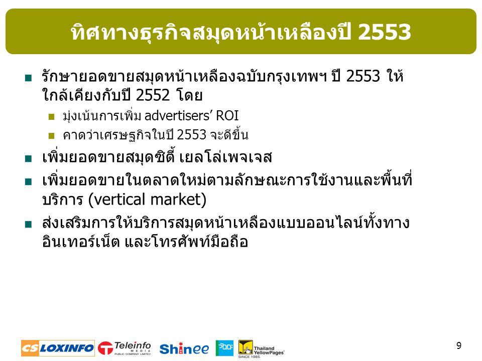 ทิศทางธุรกิจสมุดหน้าเหลืองปี 2553