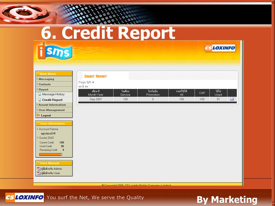 6. Credit Report By Marketing Leased Line