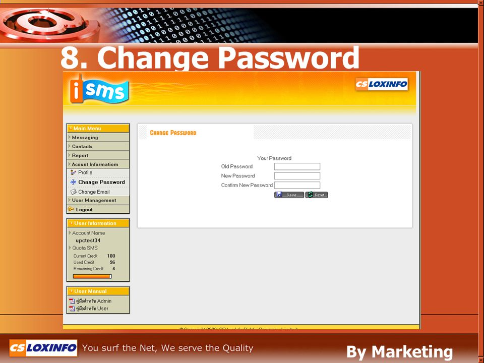 8. Change Password By Marketing Leased Line