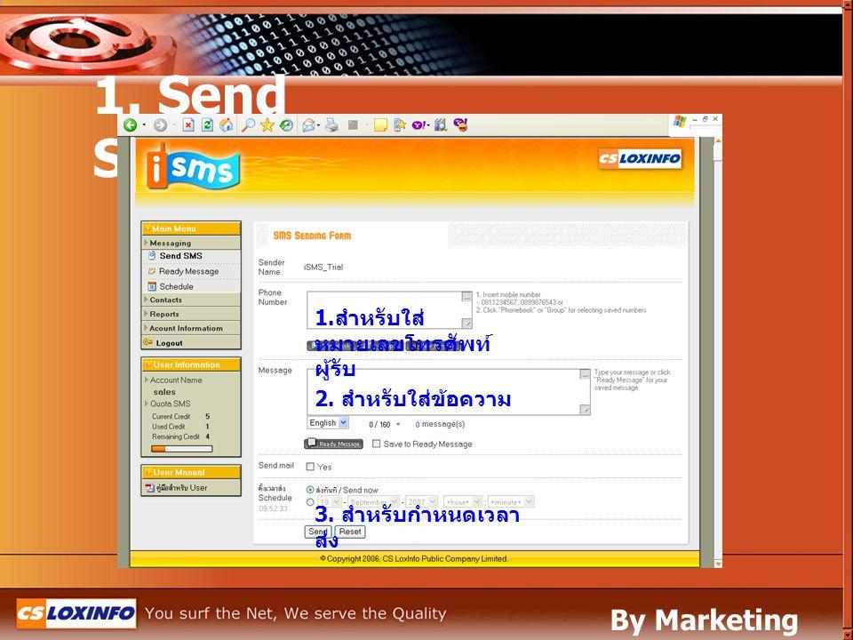 1. Send SMS By Marketing Leased Line 1.สำหรับใส่หมายเลขโทรศัพท์ผู้รับ