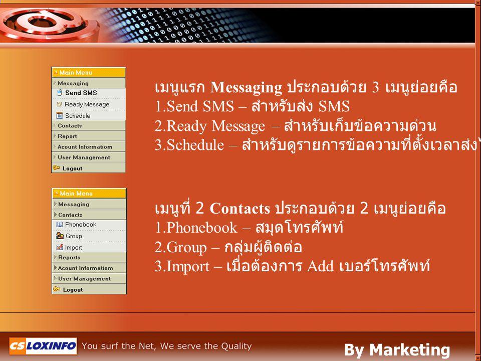 เมนูแรก Messaging ประกอบด้วย 3 เมนูย่อยคือ