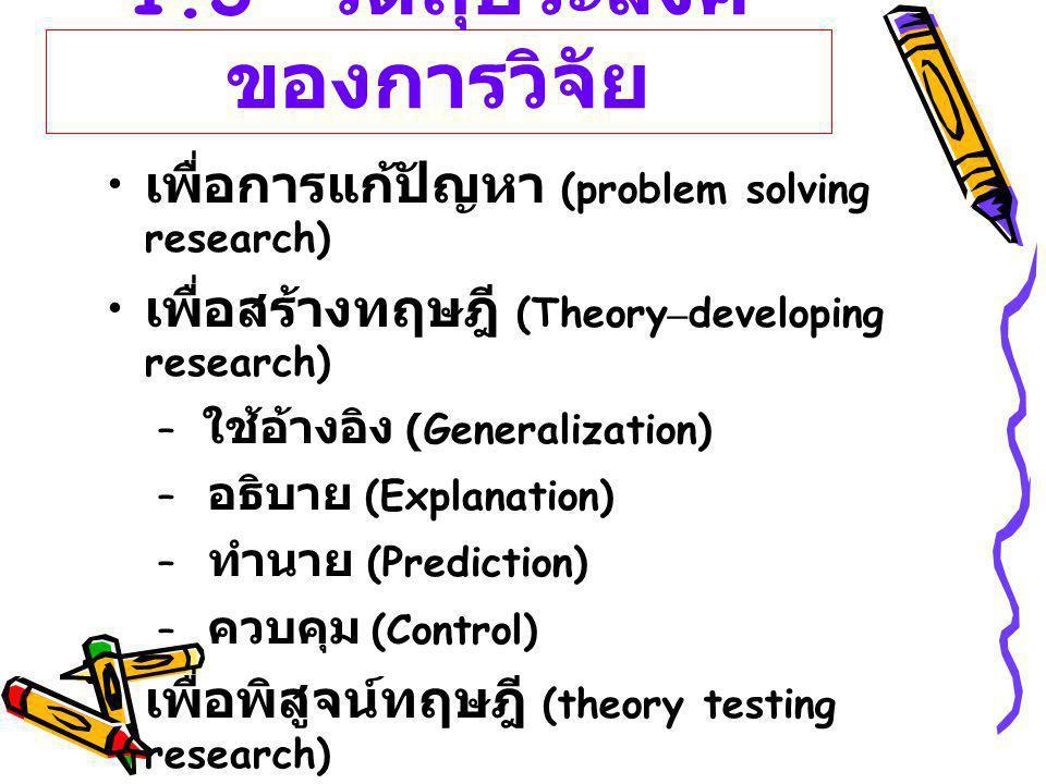 1.3 วัตถุประสงค์ของการวิจัย