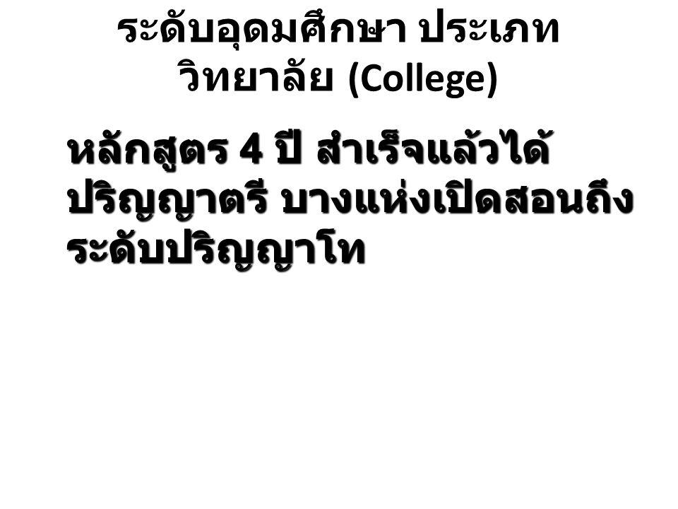 ระดับอุดมศึกษา ประเภท วิทยาลัย (College)