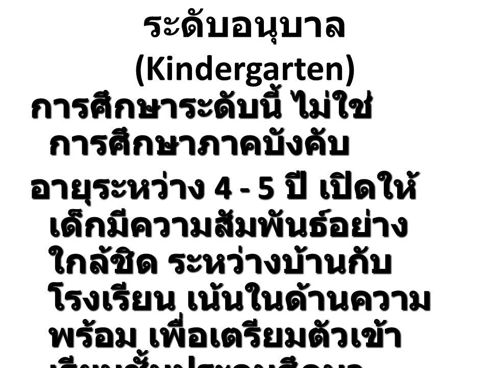 ระดับอนุบาล (Kindergarten)