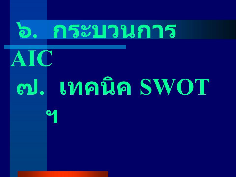 ๖. กระบวนการ AIC ๗. เทคนิค SWOT ฯ