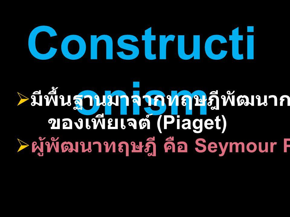 Constructionism มีพื้นฐานมาจากทฤษฎีพัฒนาการทางสติปัญญา