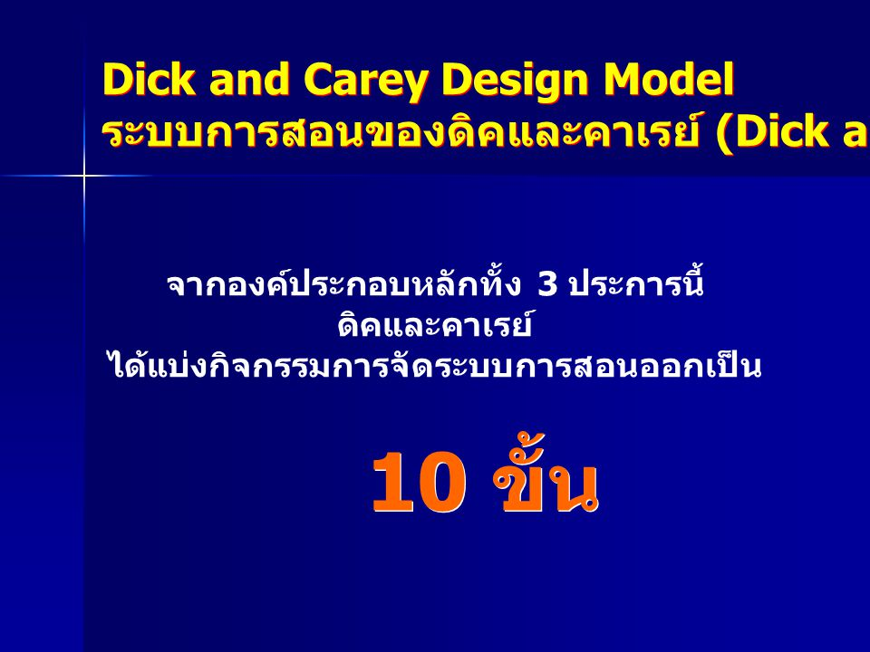 10 ขั้น Dick and Carey Design Model
