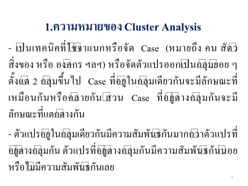 1.ความหมายของ Cluster Analysis