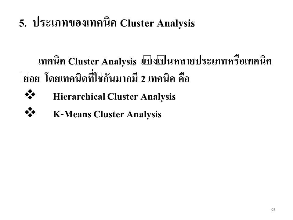 5. ประเภทของเทคนิค Cluster Analysis