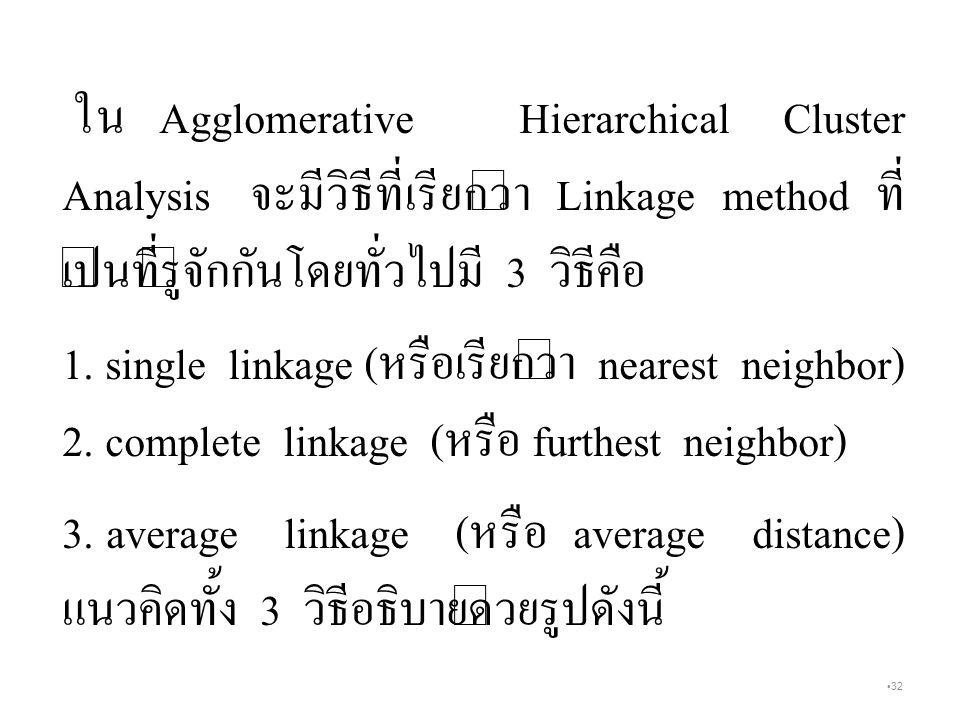 ใน Agglomerative Hierarchical Cluster Analysis จะมีวิธีที่เรียกว่า Linkage method ที่เป็นที่รู้จักกันโดยทั่วไปมี 3 วิธีคือ