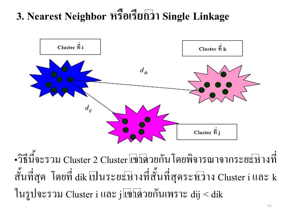 3. Nearest Neighbor หรือเรียกว่า Single Linkage
