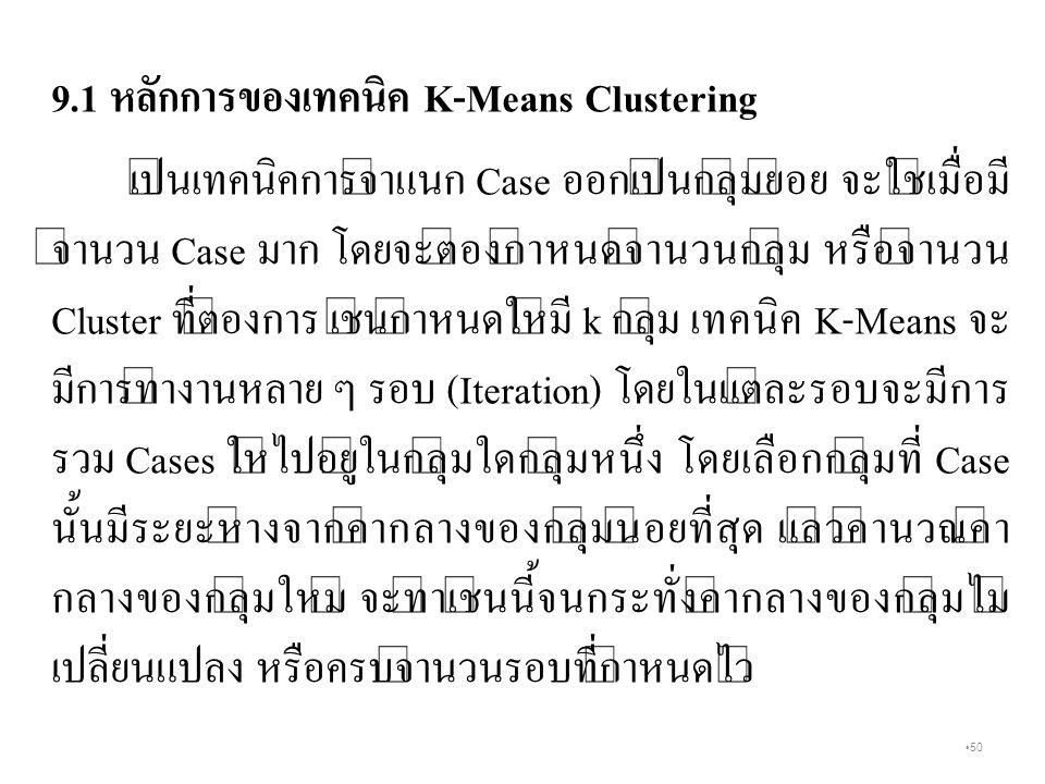 9.1 หลักการของเทคนิค K-Means Clustering