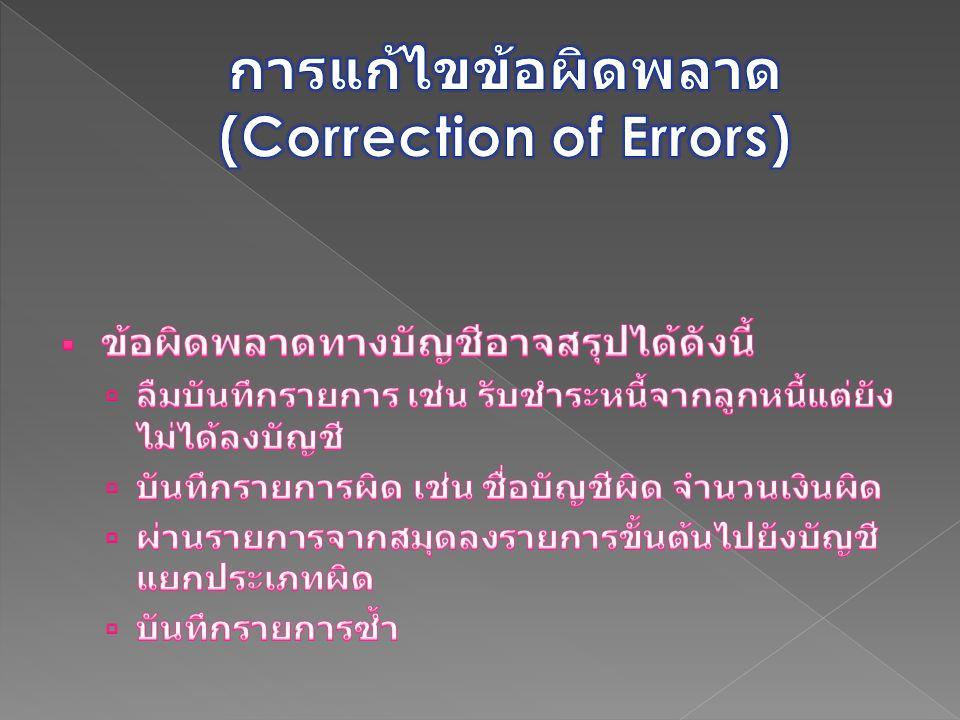 การแก้ไขข้อผิดพลาด (Correction of Errors)