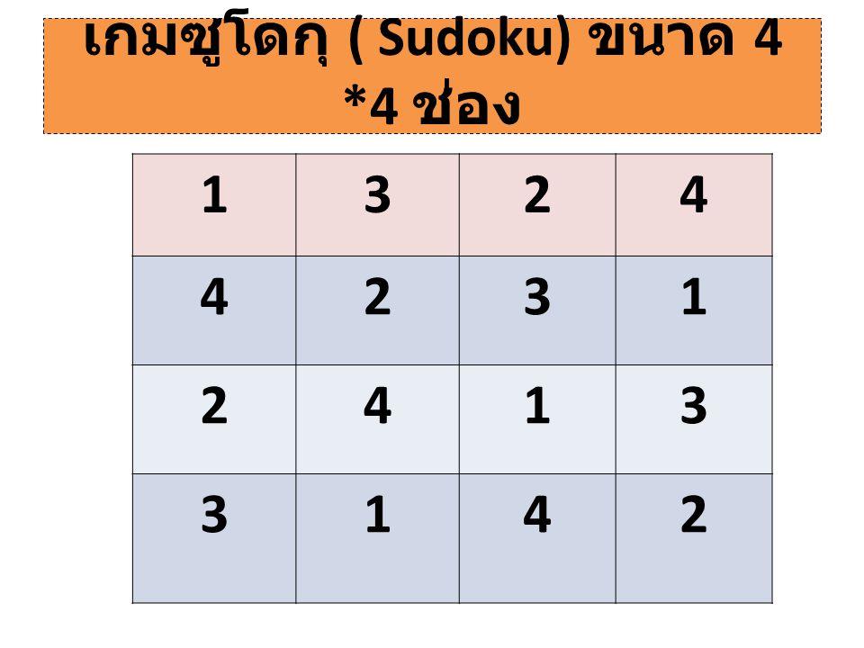 เกมซูโดกุ ( Sudoku) ขนาด 4 *4 ช่อง