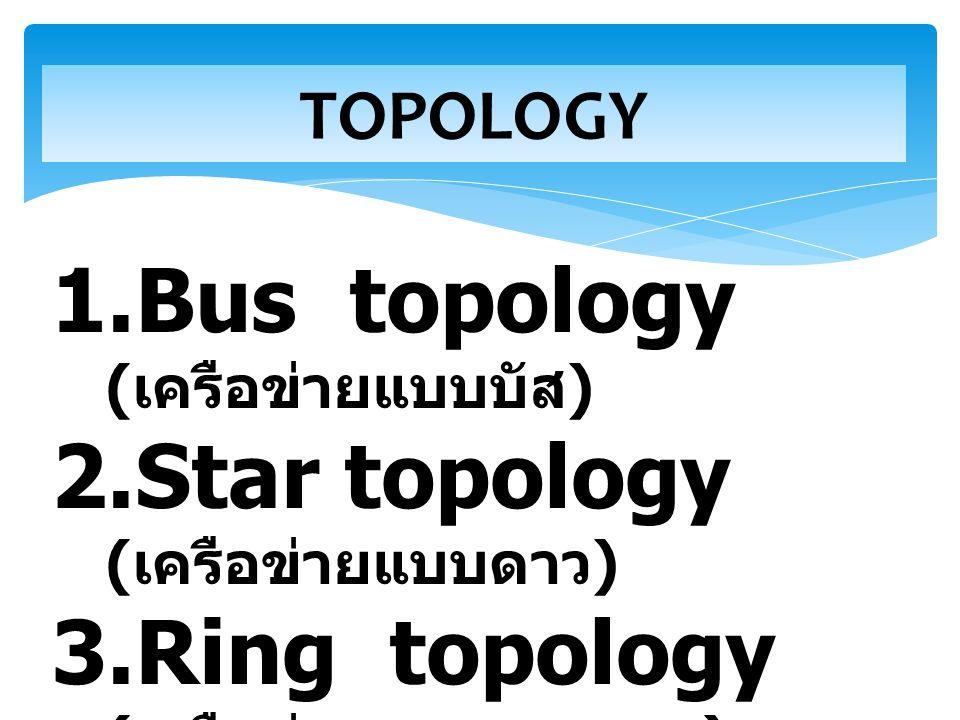 Bus topology (เครือข่ายแบบบัส) Star topology (เครือข่ายแบบดาว)