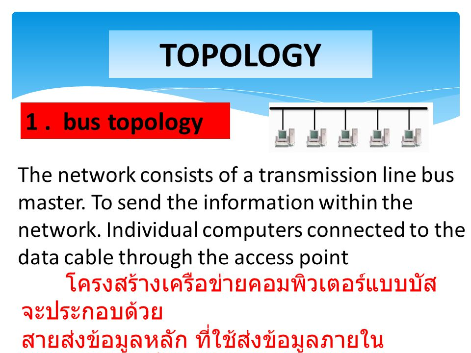 TOPOLOGY 1 . bus topology.