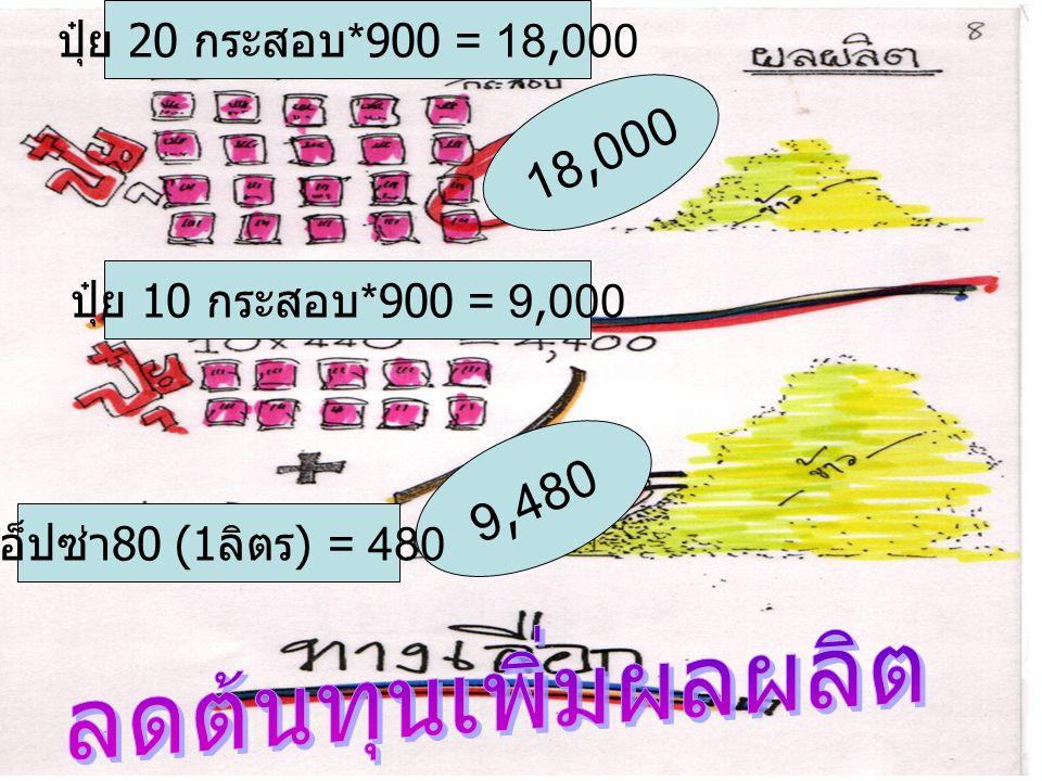 18,000 9,480 ลดต้นทุนเพิ่มผลผลิต ปุ๋ย 20 กระสอบ*900 = 18,000