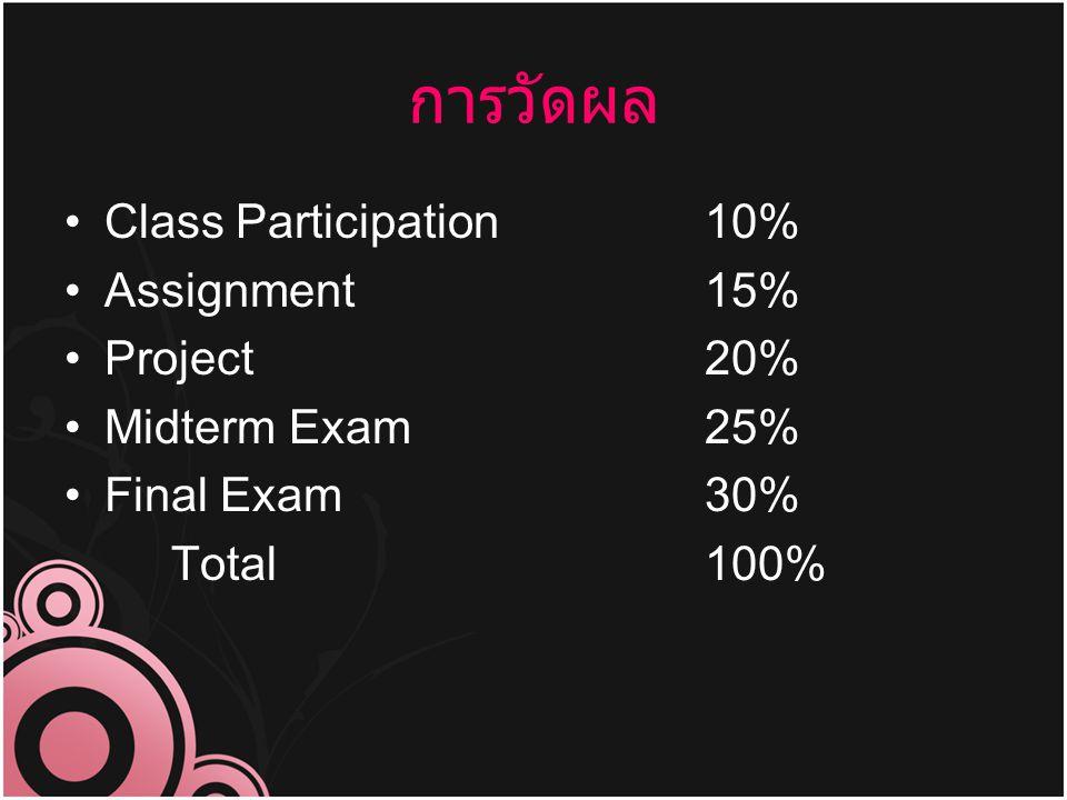 การวัดผล Class Participation 10% Assignment 15% Project 20%