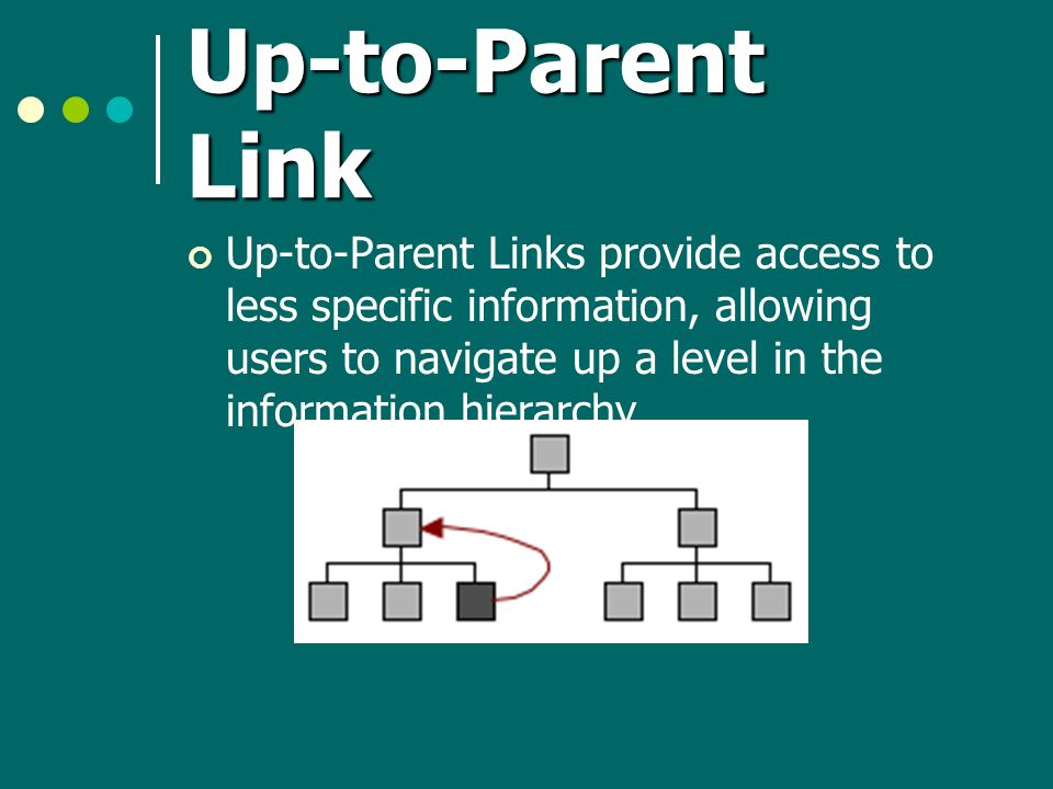 Up-to-Parent Link Up-to-Parent Links provide access to less specific information, allowing users to navigate up a level in the information hierarchy.