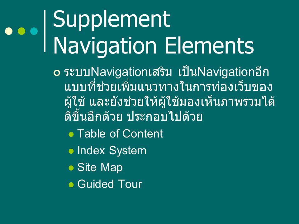 Supplement Navigation Elements