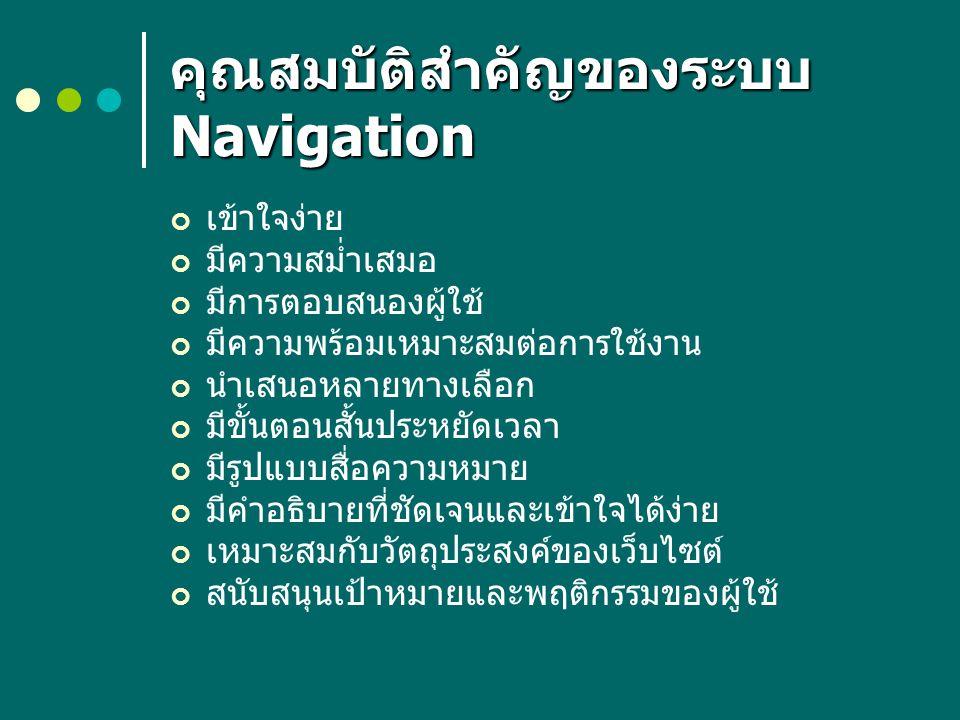คุณสมบัติสำคัญของระบบ Navigation