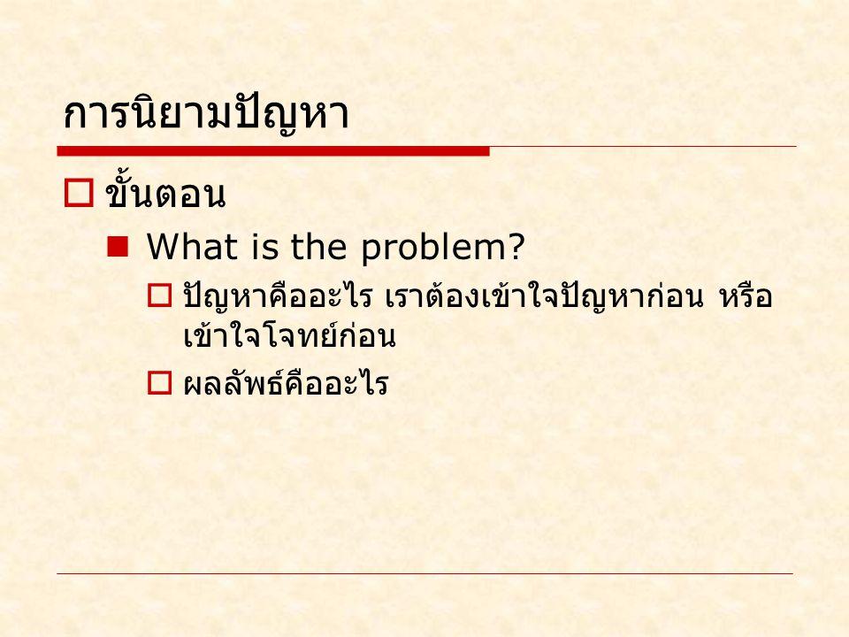 การนิยามปัญหา ขั้นตอน What is the problem