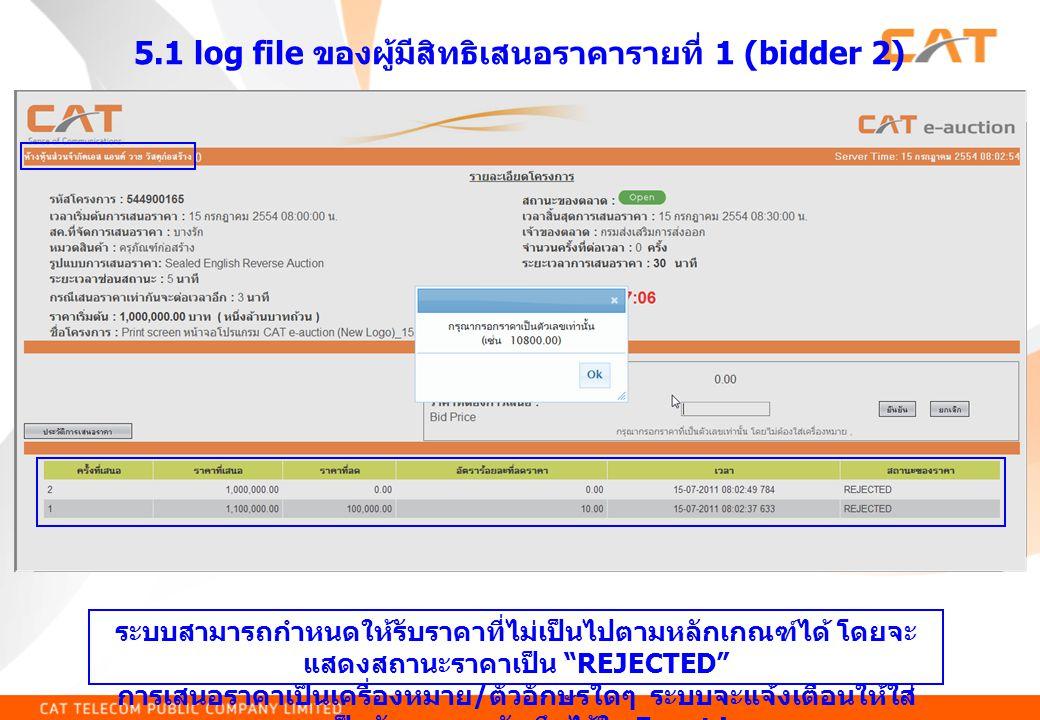 5.1 log file ของผู้มีสิทธิเสนอราคารายที่ 1 (bidder 2)
