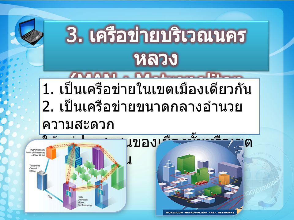 3. เครือข่ายบริเวณนครหลวง (MAN : Metropolitan Area Network)
